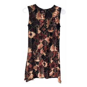 Vtg Y2K Velvet Stretch Sheath Patchwork Mini Dress